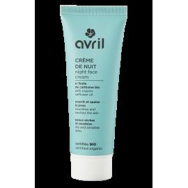 Crème de nuit peaux sèches et sensibles   50 ml - Certifié bio